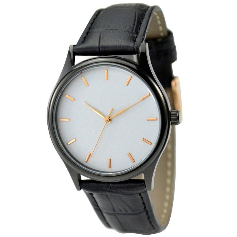 黑色簡約手錶-玫瑰金釘-白面-全球免運