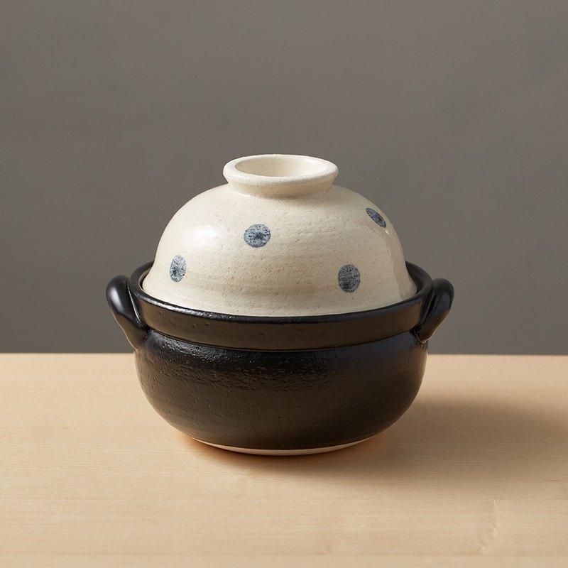 有種創意 - 日本萬古燒 - 兩用蓋碗土鍋 - 水玉點點(1.1L)