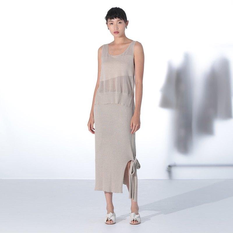 米色蠶絲羅紋綁帶長裙 - 可穿成無袖洋裝 - 一體成型毛衣