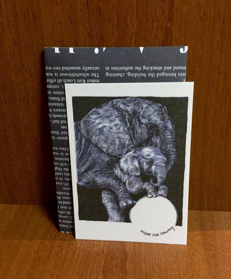 質感明信片設計-大象小象(105*150mm)