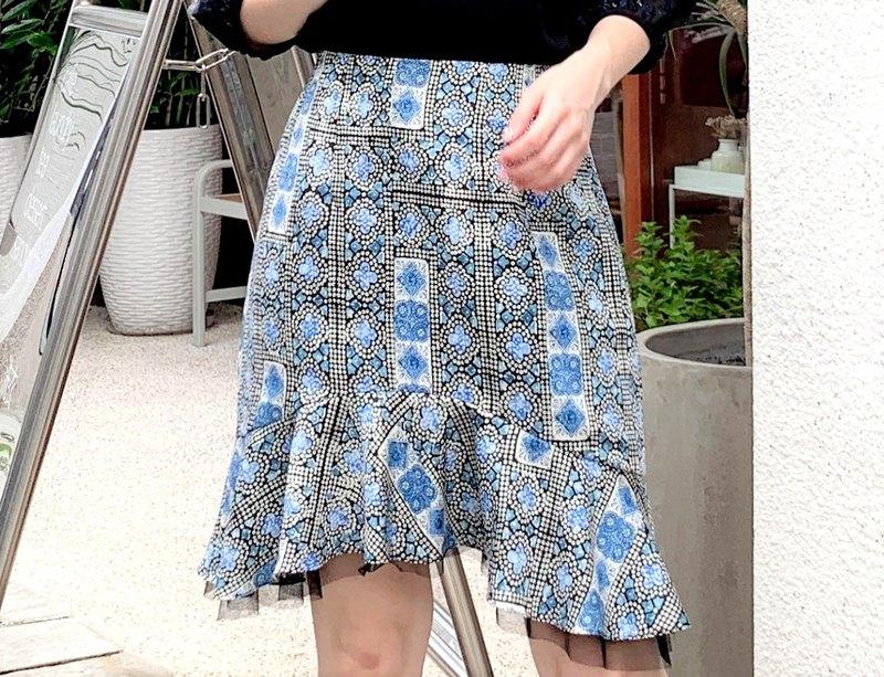 MIT花卉魚尾網紗短裙(R7007B)