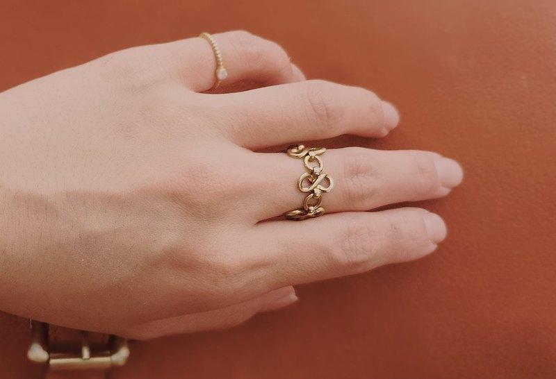 【祕密花園】百搭系列 - 復古黃銅鍊戒戒指