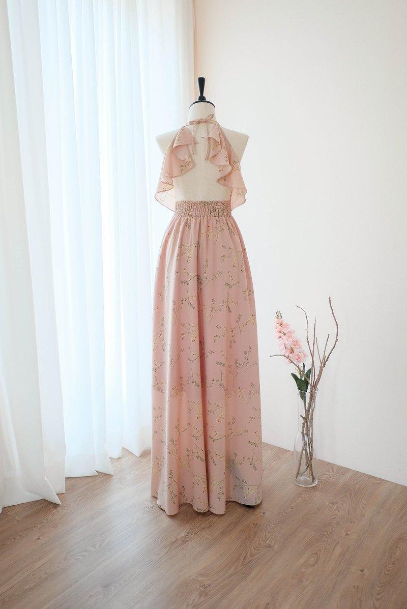 塵世粉色裸色碎花連衣裙長款伴娘禮服雞尾酒舞會禮服