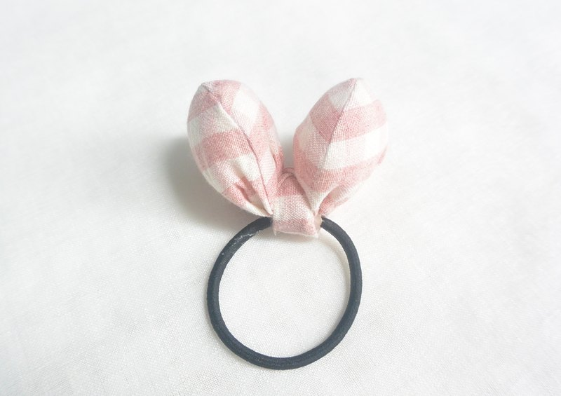 蝴蝶髮圈 - 粉紅格子