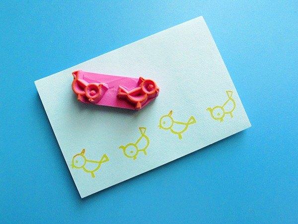 Apu手工章 实用可愛小鳥可无限连续花邊印章 手帳印章