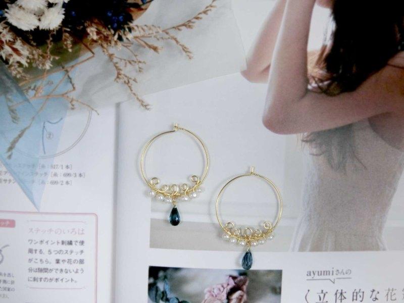 【芭蕾舞者的緞帶】倫敦藍拓帕珍珠耳環