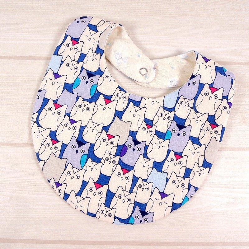 口水巾 圍兜兜 -貓頭鷹(藍)