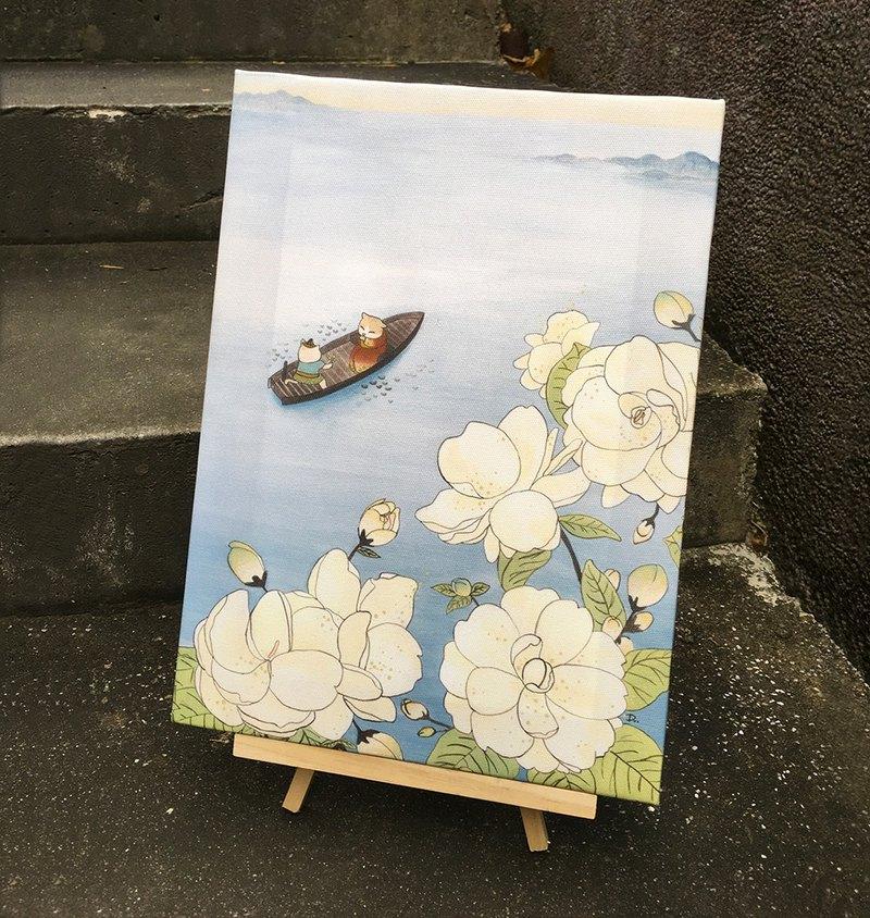 貓咪浮世繪-遊湖/無框畫