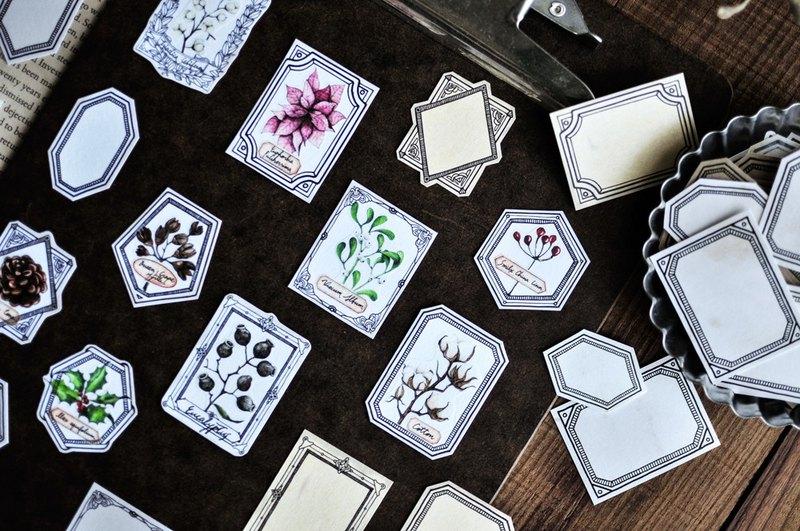 冬日森林紙膠帶-植物/冬天/採集/標本/拼貼/手帳/3cm