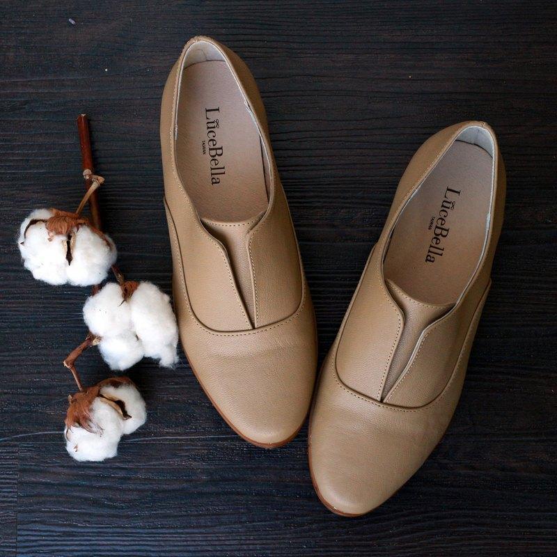 【爵士樂】簡約線條牛津鞋-棕色