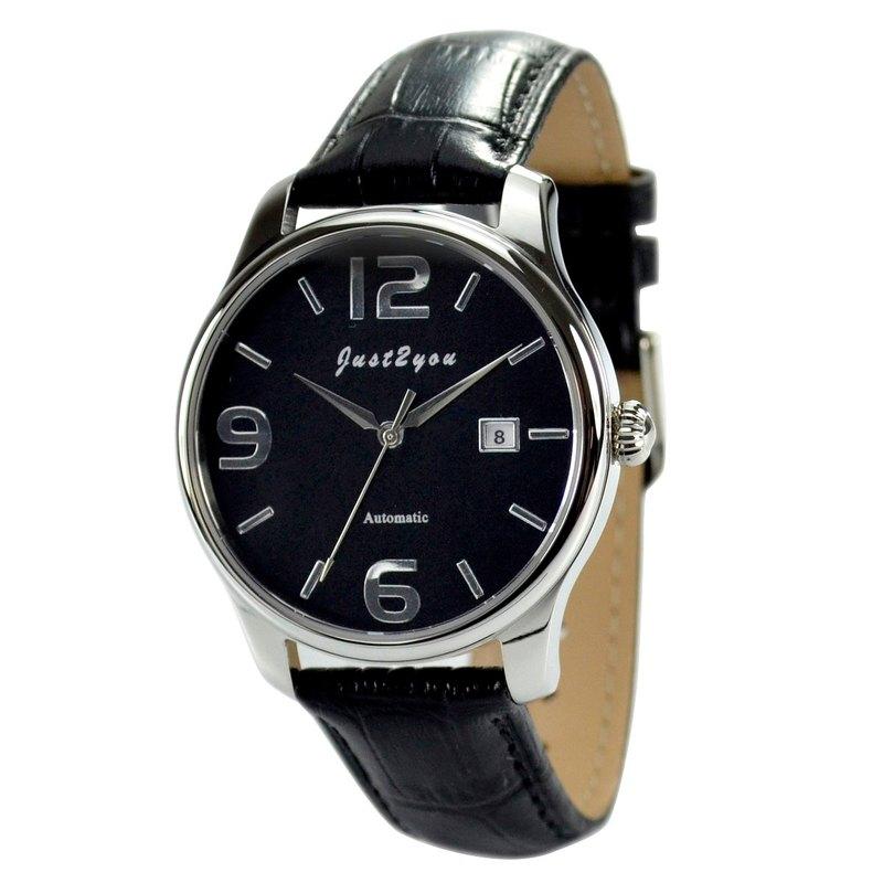 簡約自動上鍊機械錶(黑面大數字字)- 全球免運