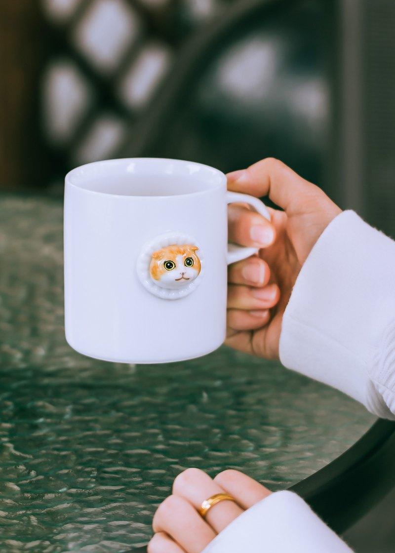 三淺陶社 折耳喵馬克杯 萌寵 立體動物咖啡杯 原創陶瓷禮物