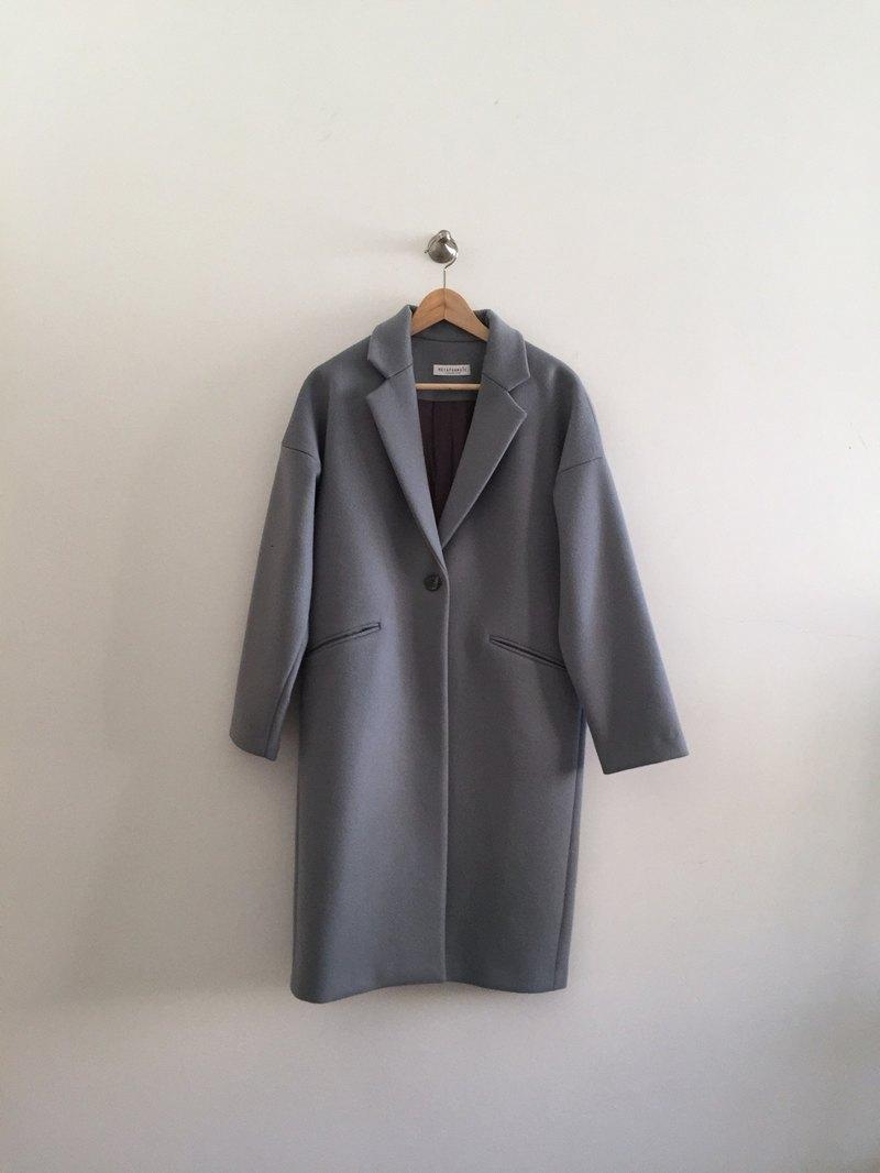 Mist Coat霧藍灰單扣 cashmere大衣 可訂做顏色