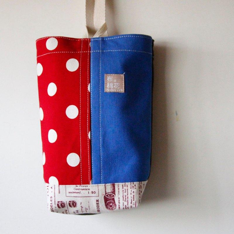 壁掛式帆布面紙套, 大紅點點+藍色帆布