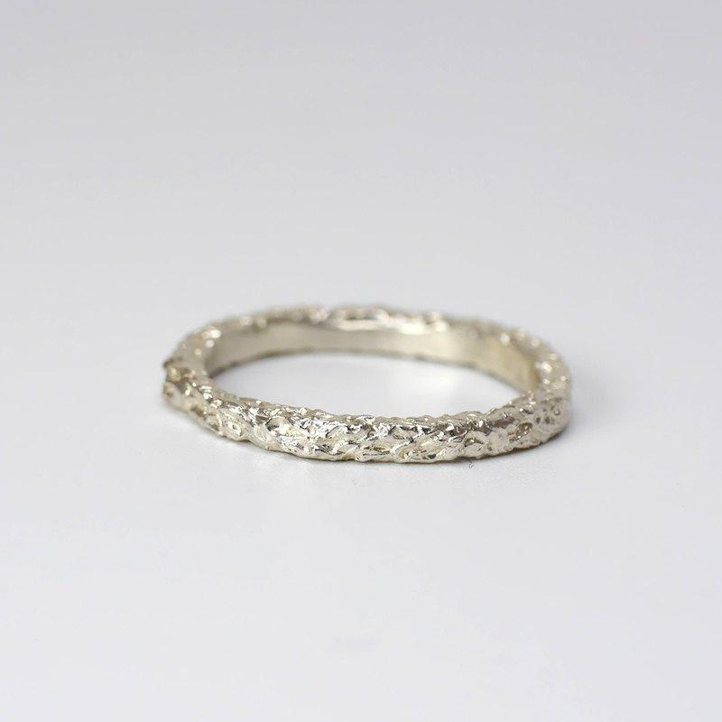 熔岩 - 純銀自然紋理戒指 尾戒無名指戒 情侶對戒