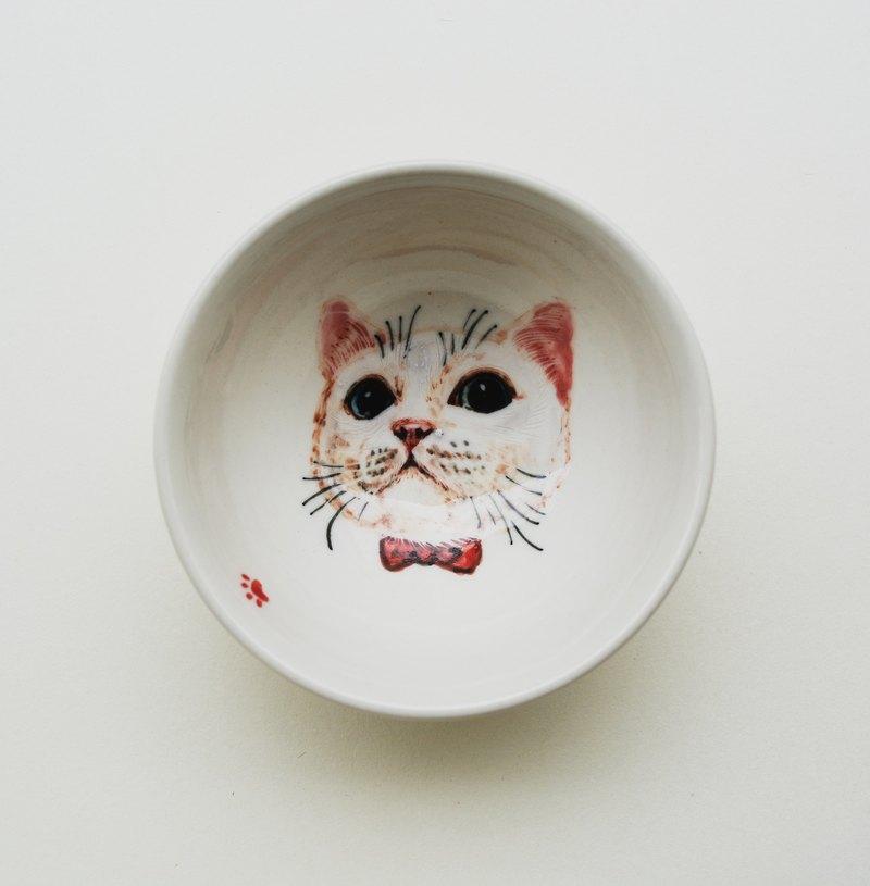 手繪小茶杯-小白貓