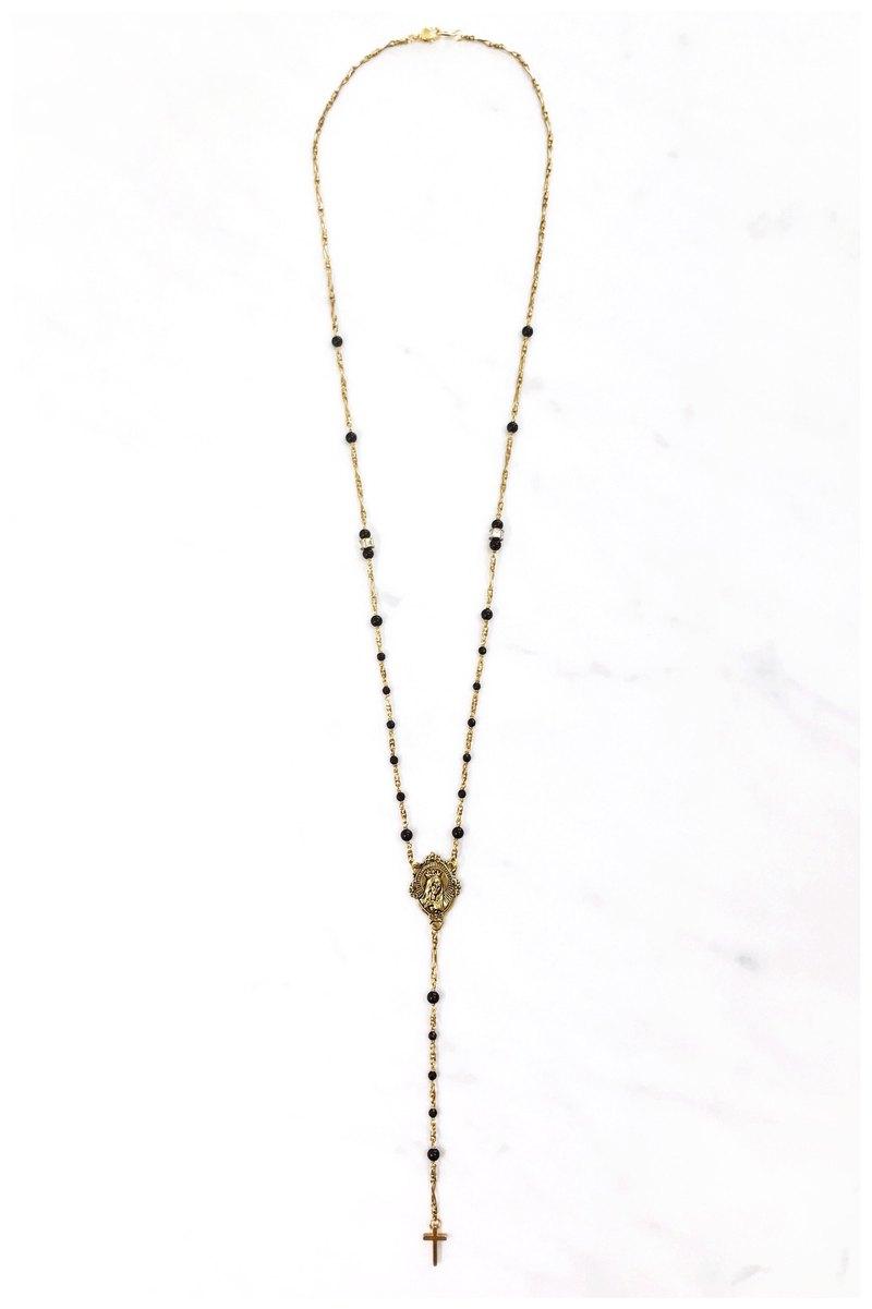 +黑瑪瑙‧聖母‧十字架‧黃銅長項鍊+