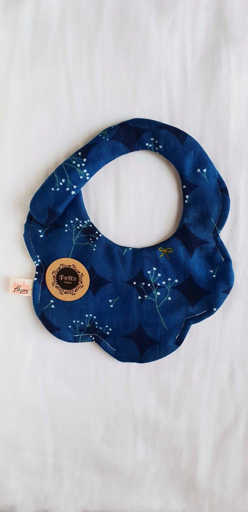 滿天星花卉-深藍-八層紗100%cotton隨性圓弧造型圍兜.口水巾