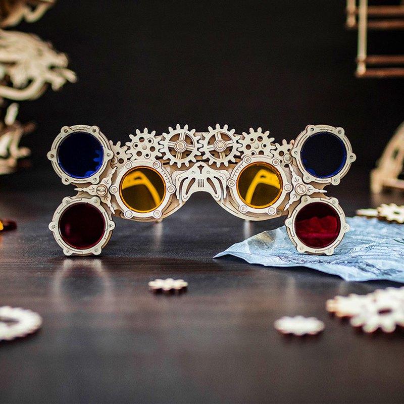 手作動力模型 萬花筒血輪眼_鏡 木製組合可動玩具