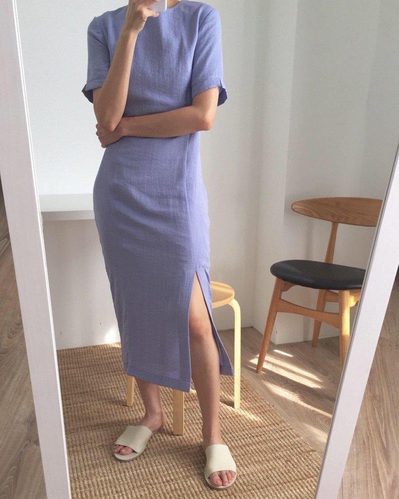Ling Dress 夏日經典丹寧色棉麻旗袍式洋裝