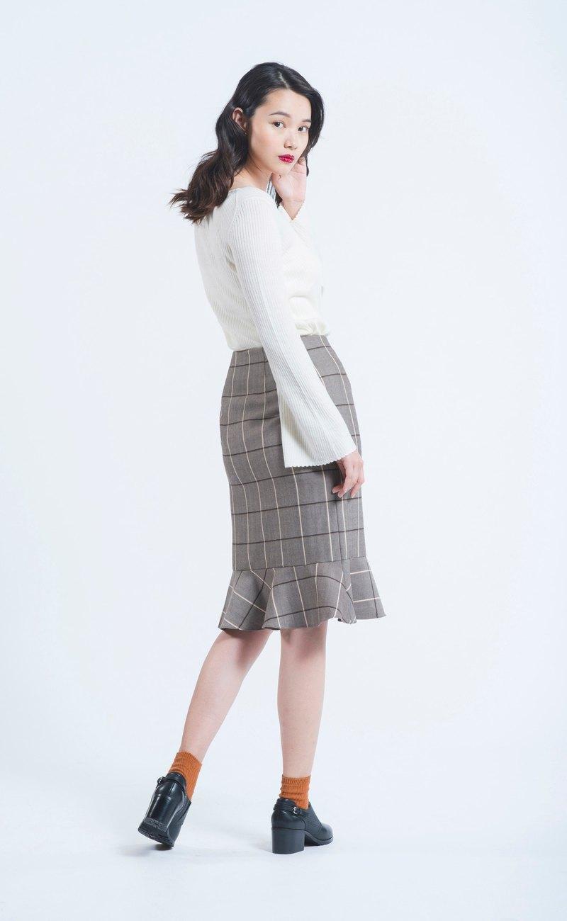 經典格紋毛料魚尾裙