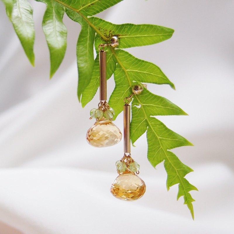 優雅簡約黃水晶洋蔥頭水滴天然石手工14kgf包金耳環耳夾