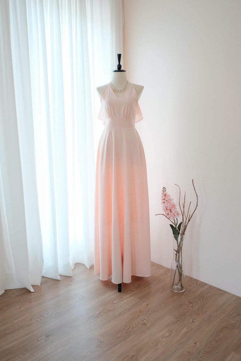 粉色腮紅連衣裙粉色連衣裙長款伴娘禮服雞尾酒舞會禮服