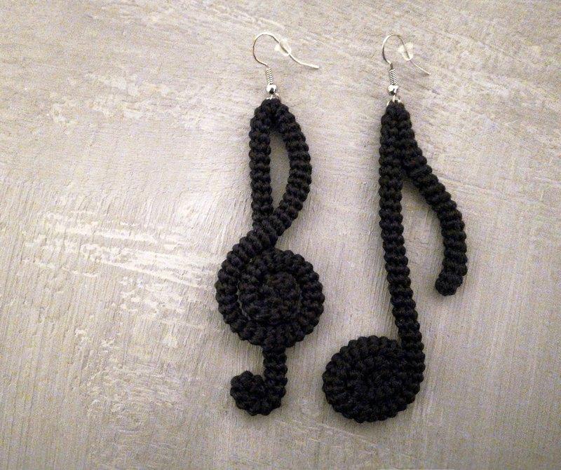 音樂筆記耳環黑色鉤針管音樂派對飾品音樂家禮品