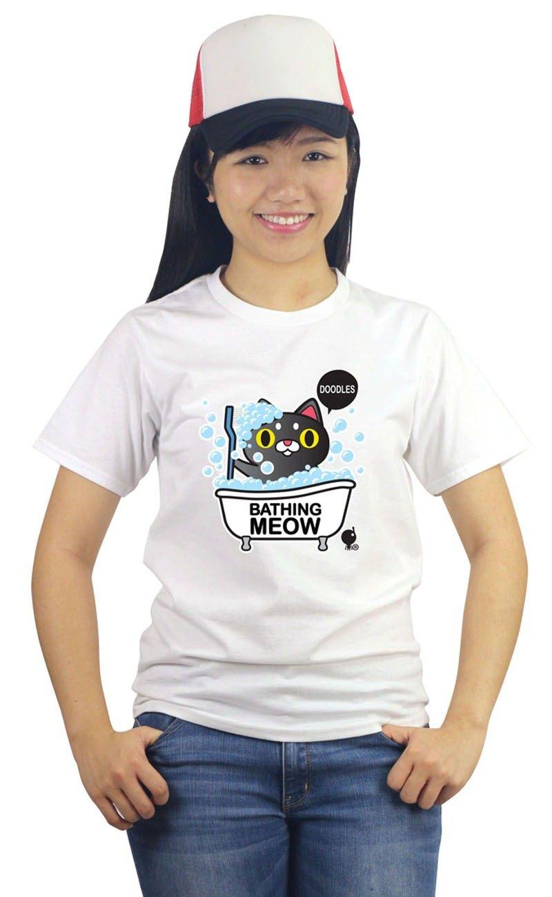 白色全棉「沐浴貓兒」T恤