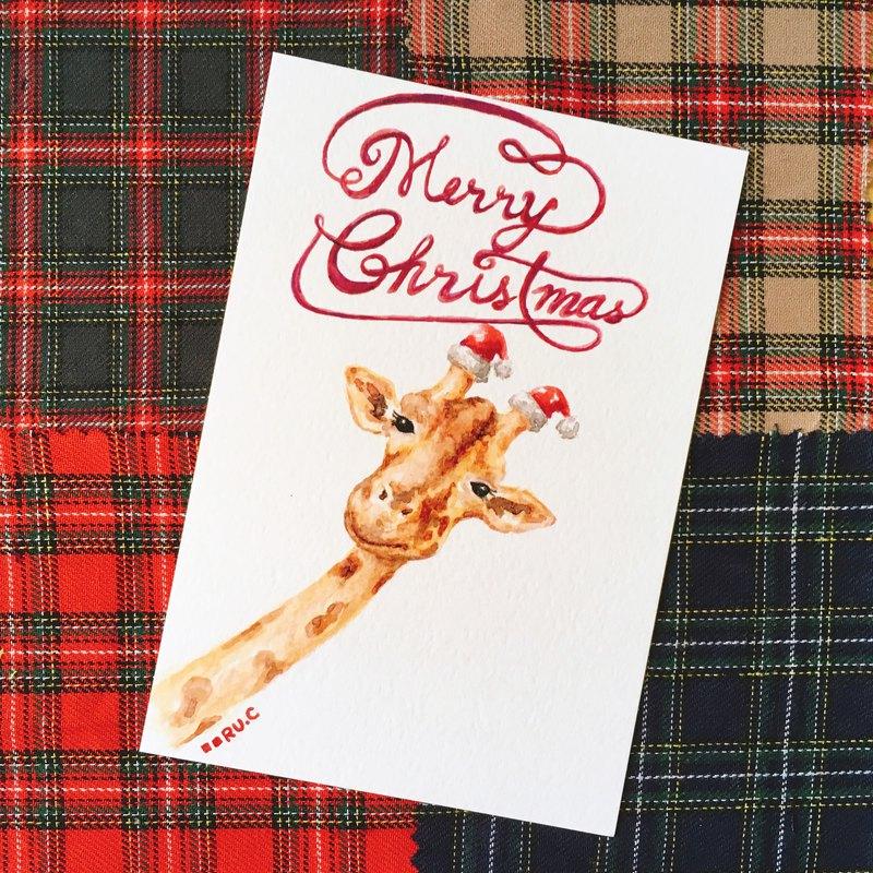 長頸鹿聖誕卡 明信片