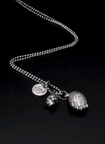 Double Bear&skull_pendant | 骷髏熊掌項鍊墜