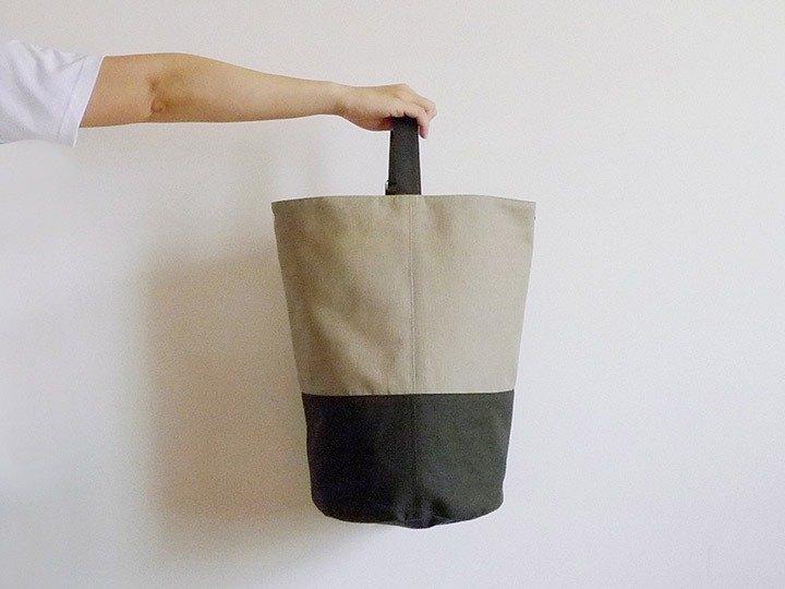 栗子色X墨綠色水手桶(圓)型束口肩後斜背包