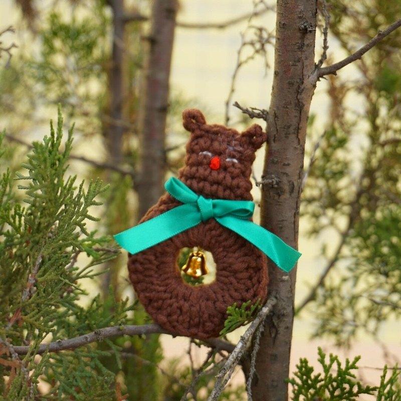 (聖誕節交換禮物 )独立原创·圣诞系列  圣诞小鹿手工鉤織胸針