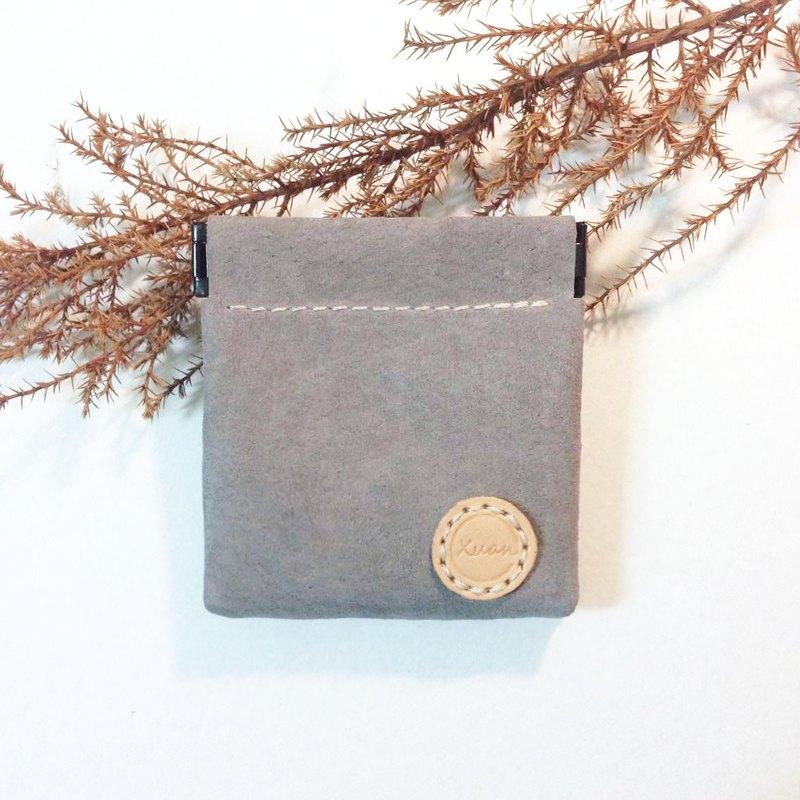 彈片零錢包-方形-灰色-手工收納皮件