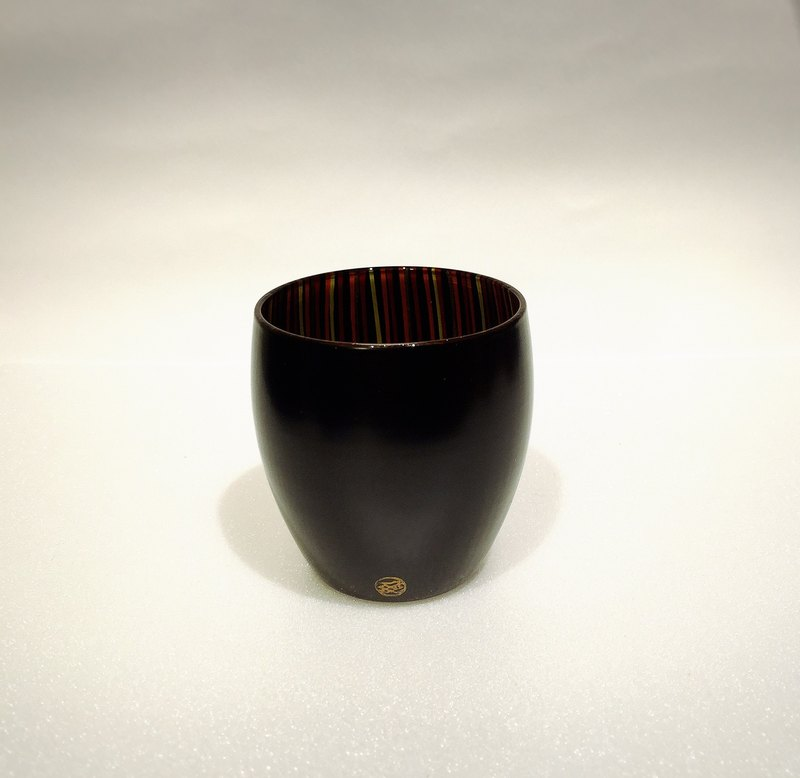 日本手工 漆器玻璃酒杯 黑色