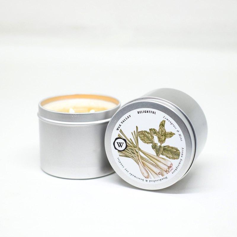 宜人的大豆蠟燭便攜式錫-檸檬草和薄荷