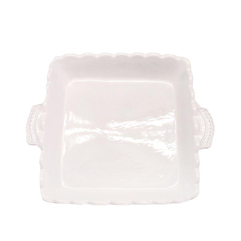 手工純白蕾絲系列 - 22CM 正方雙把手烤盤