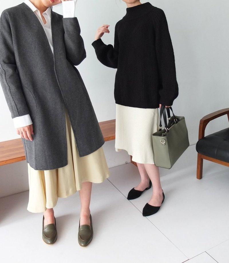 灰/炭灰可雙面穿著喀什米爾敞開式大衣(左)
