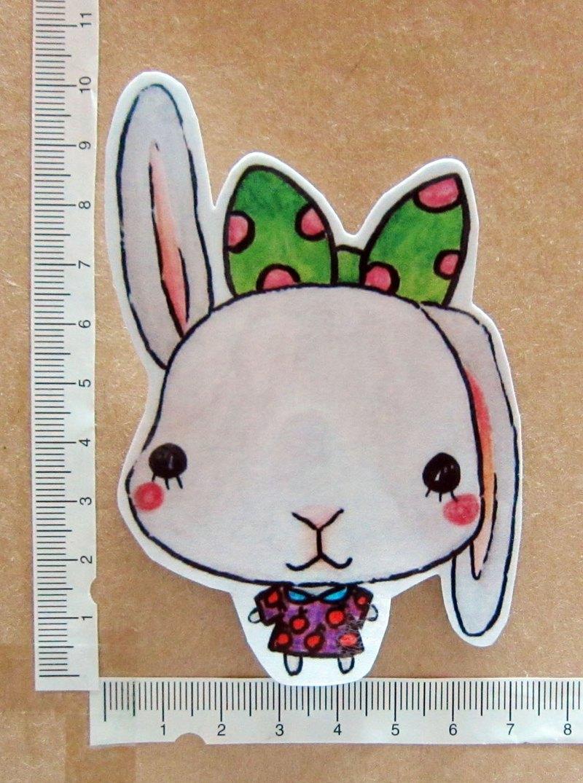 手繪插畫風格 完全 防水貼紙 蝴蝶結兔