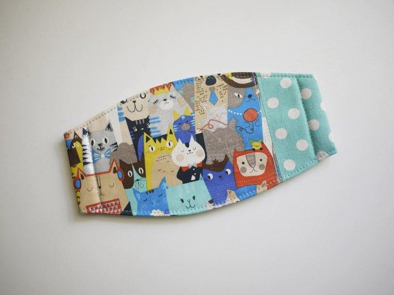 手工訂製口罩=貓咪開週會=藍綠+點點=日本布料