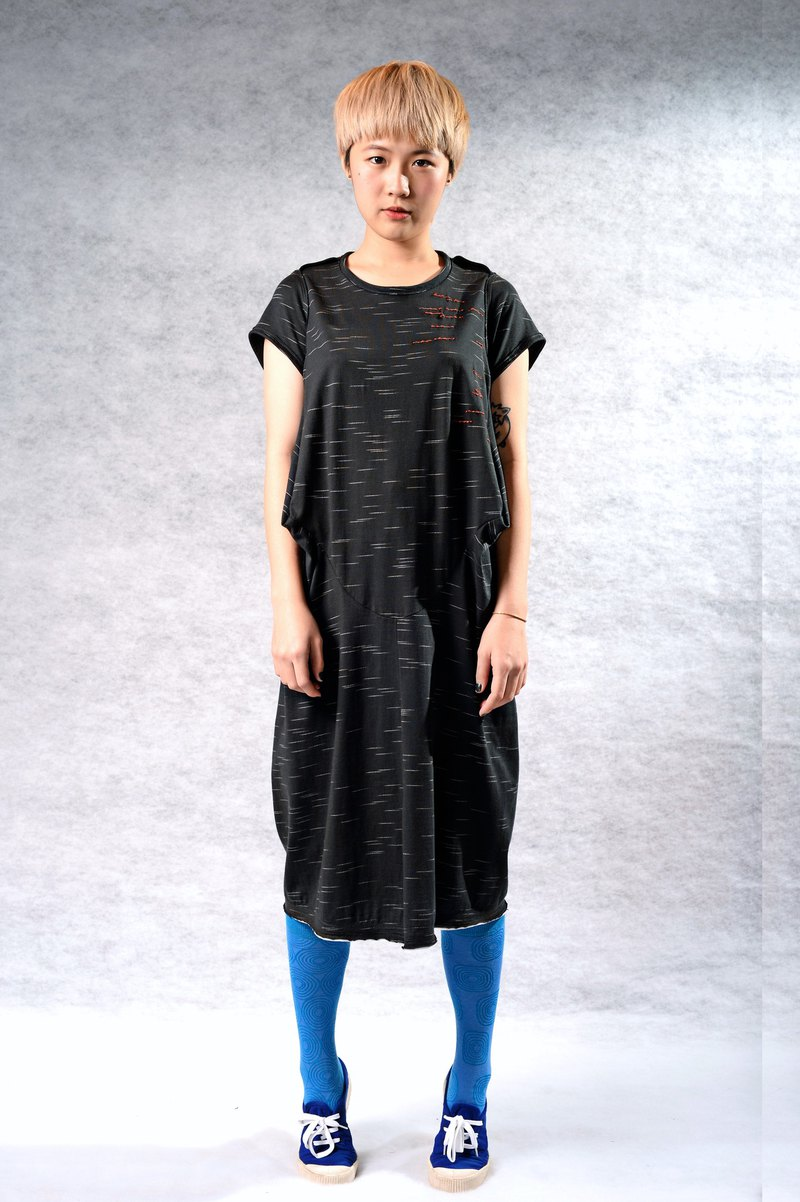 立體減裁*溫感手縫* 顯瘦洋裝(黑/綠2色)