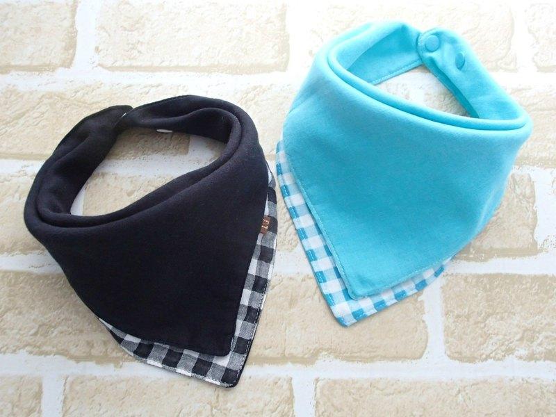 嬰兒圍嘴,2件套,可逆嬰兒頭巾圍嘴,日本棉,方格布式