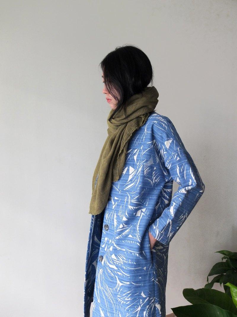 Palm Coat 土耳其藍印花春秋排釦九分袖大衣 量身訂做