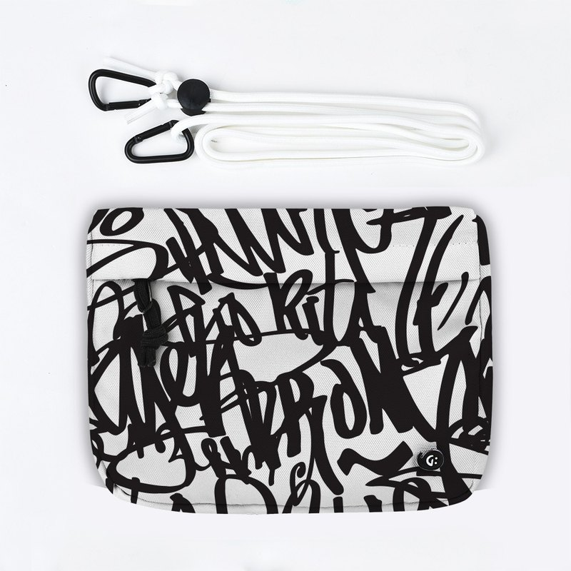 Grinstant混搭可拆組式小包肩背包 - 黑白系列 (黑色塗鴉)