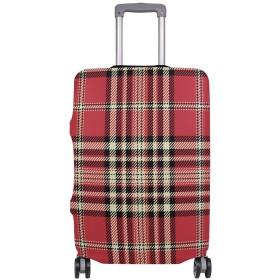 スーツケースカバー 格子 復古 赤い 伸縮素材 保護カバー 紛失キズ 保護 汚れ 卒業旅行 旅行用品 トランクカバー 洗える ファスナー 荷物ケースカバー 個性的