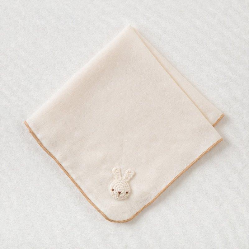 【Amorosa Mamma有機棉】嬰兒棉紗手帕 (小兔刺繡 )