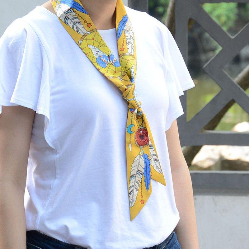 印第安捕夢網真絲手工小絲巾|領巾|長條絲巾|髮帶|復古|法式|黃色