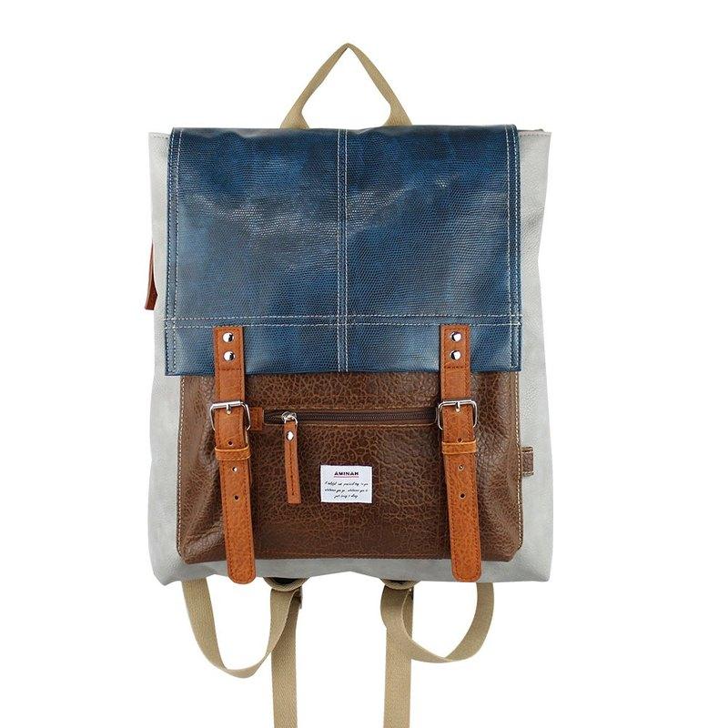 AMINAH-灰色書包型後背包【am-0254】