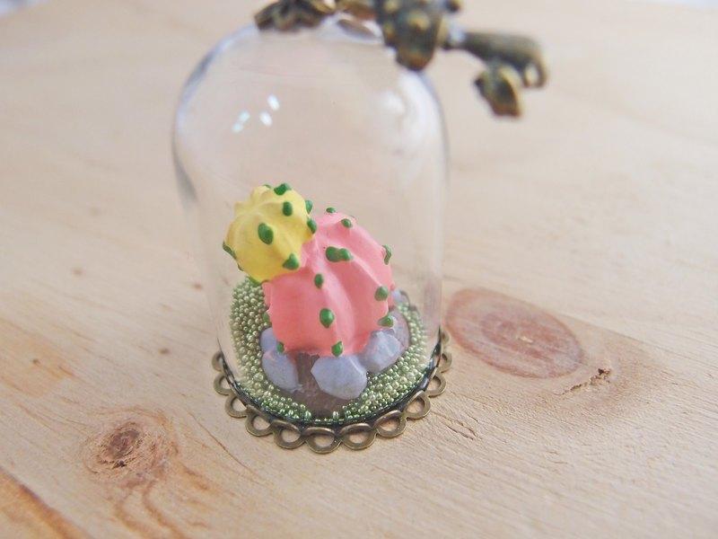 夢想水晶球 【 107 】 多肉小世界 x 水鑽 x 蘑菇 x 多肉植物 x 長項鍊 鑰匙圈 包包掛飾