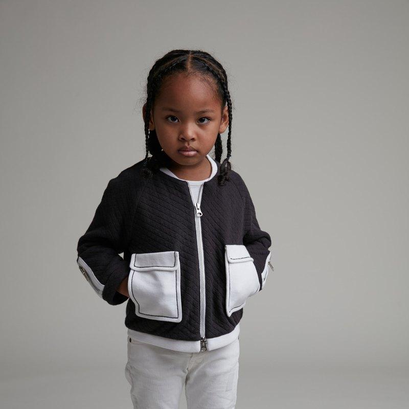 大口袋格菱紋外套 (黑)